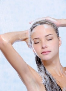 A woman taking a mindful and relaxing shower